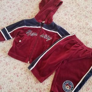 Other - Maroon and Navy Blue Velvet Track Suit Size 6-9 mo